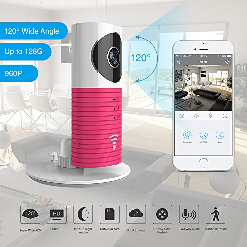 ation 960P 120°Wide Angle Lens Wireless security wifi camera Support Max 128GB SD card / Support Cloud Stotage(with adaptor)(Pink) (Max Wide Sd Card)
