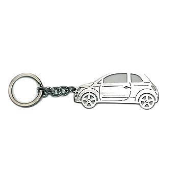 Llavero con anillo para Fiat 500 llavero de acero con cadena ...