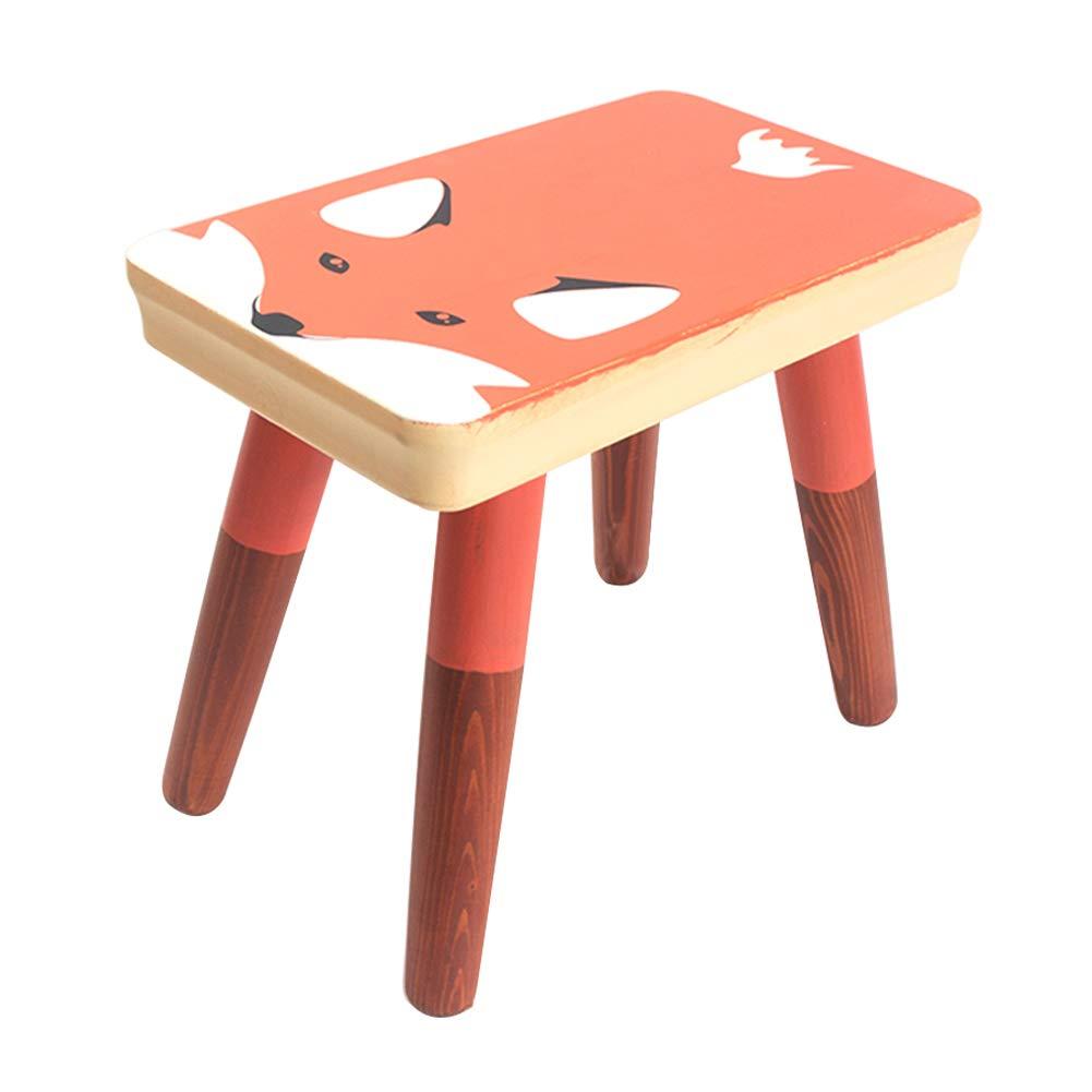 Echaprey Wooden Kids Solid Foot Stool Cute Animal Chair for Children Step Stool Chair (Fox)