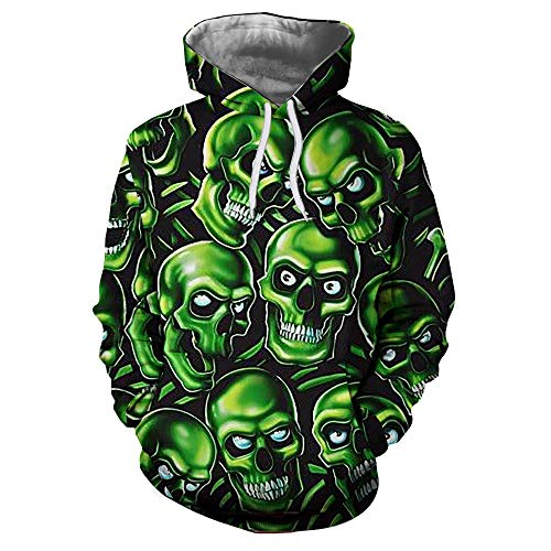 iLXHD Ugly Sweatshirt Hoodies Resident Evil Green Skull Pullover with Pocket]()