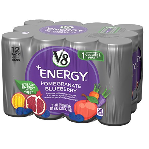 V8 +Energy, Juice Drink with Green Tea, Pomegranate Blueberry, 8 oz. Can, 12 Count