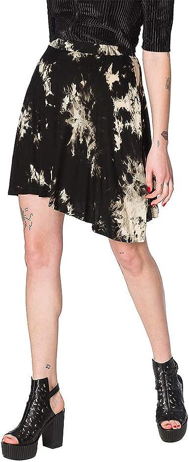Banned Falda Asimétrica con Estampado Tie Dye Jersey - Negro L ...