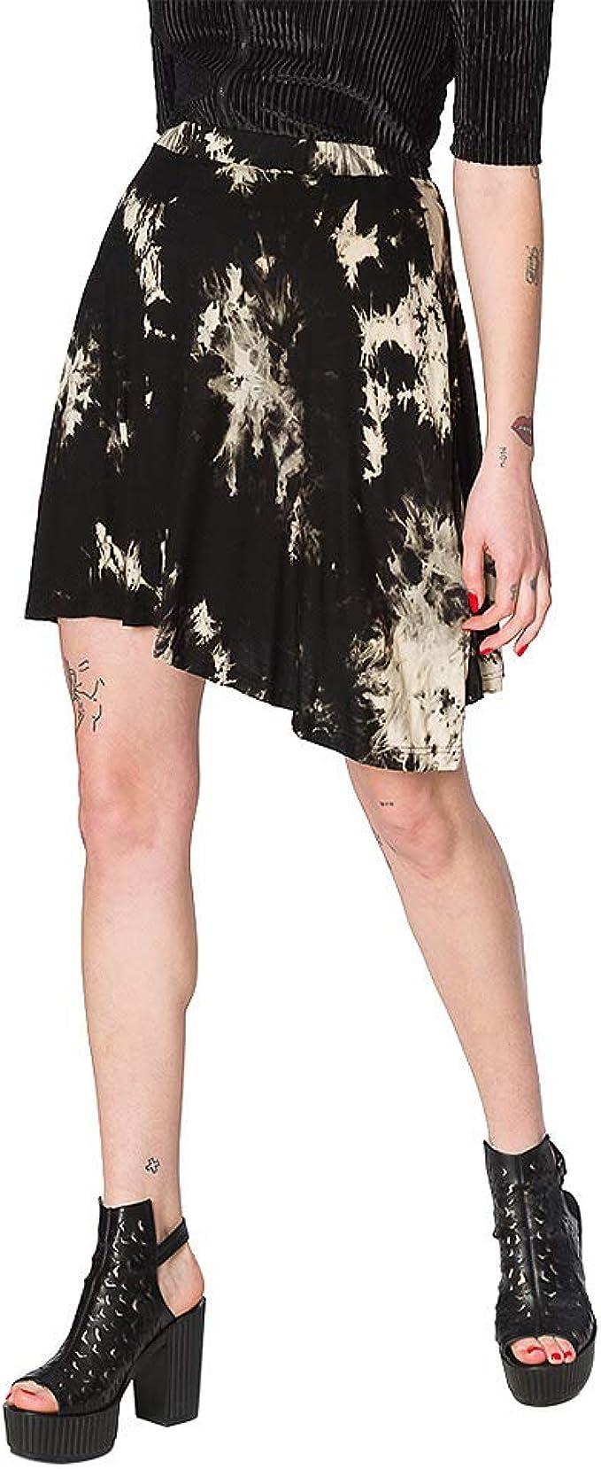 Banned Falda Asimétrica con Estampado Tie Dye Jersey - Negro S ...