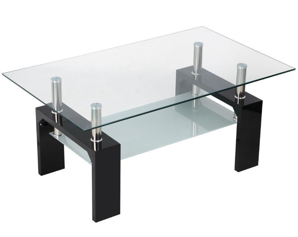 Amazon.com: Yaheetech Living Room Rectangular Glass Top Coffee Tables Wood  U0026 Chrome Finish Legs With Glass Storage Shelf (Black): Kitchen U0026 Dining