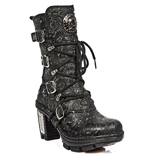 NEWROCK New Rock Womens Ladies Black Printed Leather Biker Boots - NEOTR005-S25