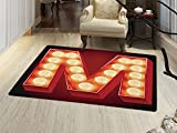 smallbeefly Letter M Door Mats Area Rug Vintage Alphabet Collection of Old Movie Theaters Casinos Retro Type Floor mat Bath Mat for tub Vermilion Yellow Black