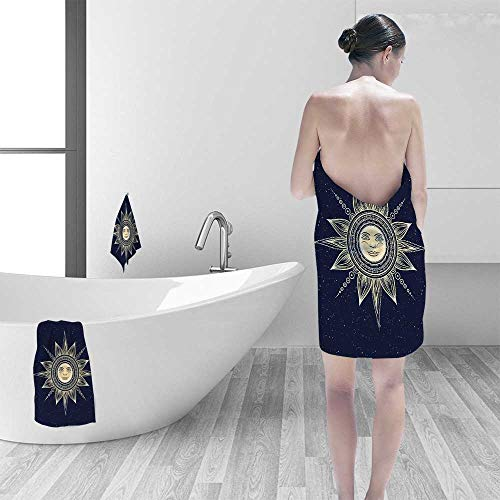 Printsonne Luxury Elegant Bath Towels Occult Sun with Face Boho Chic Esoteric Solar Spiritual Display Yellow Dark Blue Luxury Hotel & Spa Towel by Printsonne