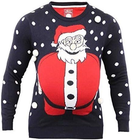Mens Christmas Jumper Pies Fat Santa Funny Size XS S M L XL Red Navy