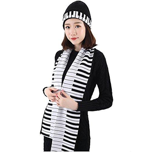 K-mover Women's Piano Key Beanie Winter Warm Knit Hat/Cap Scarf Set