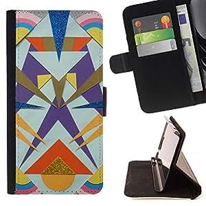 Momo Phone Case / Flip Funda de Cuero Case Cover - Líneas Totem Oro Polígono patrón - Sony Xperia Z2 D6502