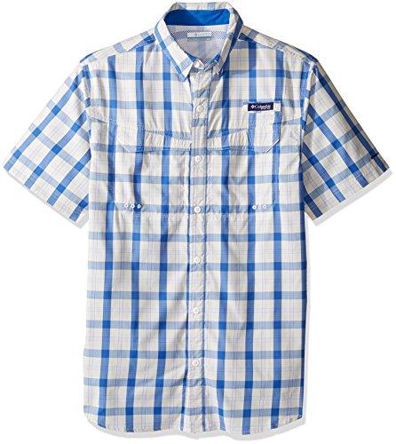 Columbia Mens Super Low Drag Short Sleeve Shirt, Vivid Blue Check, Small