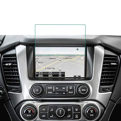 BUENNUS 8 Inch Tempered Glass for Chevrolet Tahoe Suburban 2019 2018 2017 2016 2015 Navigation Protector Film Cover for Chevy Tahoe/Suburban MyLink Interior Center Touch Screen Cover ()