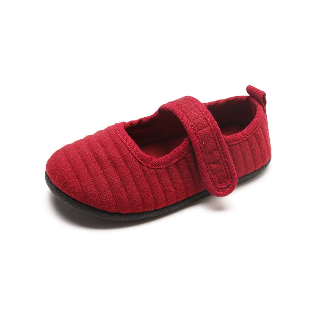 Children's Boys Girls Baby Shoes Korean Version Outdoor Kids Casual Single Shoes Loafers Shoes(Red,24)