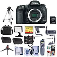 Canon EOS 7D Mark II DSLR Camera Body, with Wi-Fi Adapter Kit - Bundle With Camera Case, 64GB SDxC Card, Spare Battery, Video Light, Shotgun Mic, Tripod, Memory Wallet, Software Package, And More