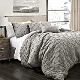 Lush Decor Ravello Shabby Chic Style Pintuck Gray 5 Piece Comforter Set with Pillow Shams, King