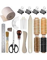 Bookbinding Kits, VENCINK Bookbinding Supplies Hand Book Binding Starter Tools Kit with Genuine Bone Folder Creaser, Paper Awl, Large-eye Needles, Waxed Thread, Binding Ribbon, Glue Brush, Steel Ruler