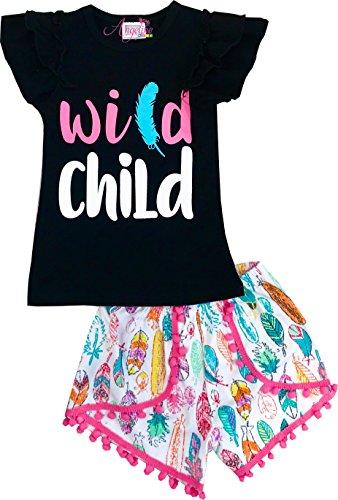 Angeline Boutique Clothing Baby Little Girls Summer Short Set Wild Child 18-24M/XS