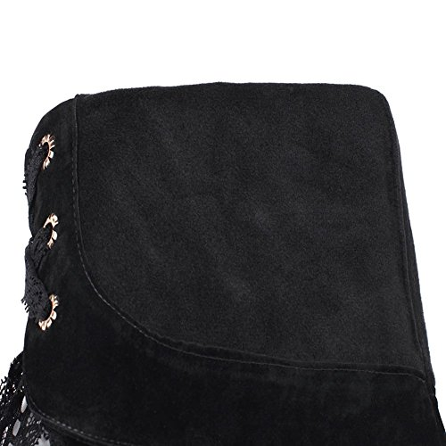 Women's Black DecoStain Decoration amp;Embroidery Zip Knee Faux Suede Nubuck Boots Lace High PqHWZdaqR