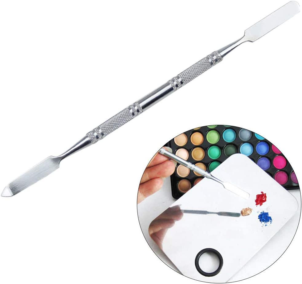 HEALLILY Makeup Palette Tool Barra de mezcla de color Herramienta de mezcla de acero inoxidable para corrector de sombras de ojos plata