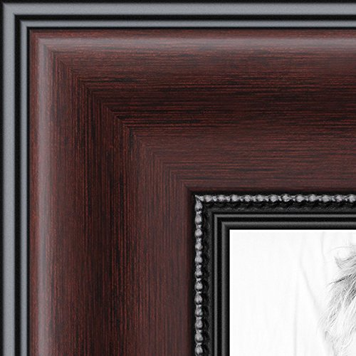 ArtToFrames 8.5x11 inch Mahogany and Burgundy With Beaded Lip Picture Frame, (Mahogany Frame)