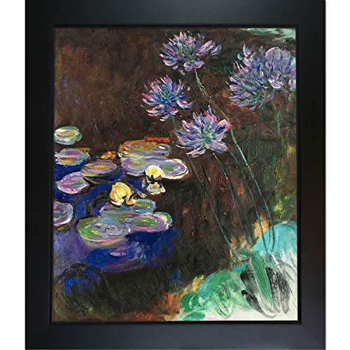 overstockArt Water Lilies and Agapanthus-Framed Oil Reproduction of an Original Painting by Claude Monet ()