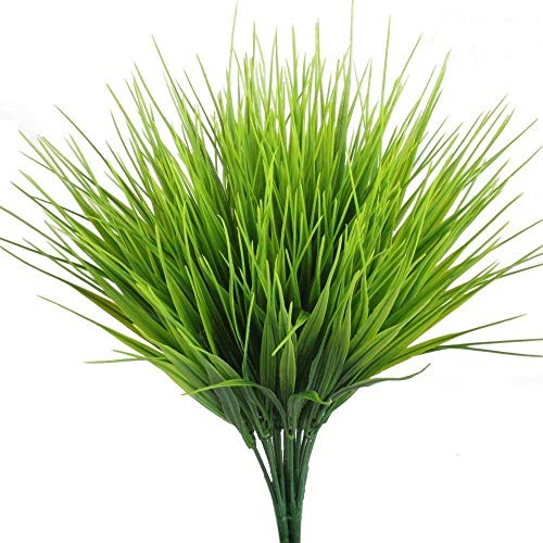 asika Artificial Plants Fake Greenery of 4 Pcs Wheat Grass Bulk Faux Foliage for Farmhouse Outdoor Indoor Decor Wedding Decorations with Decorative UV Resistant Plastic Herbs and Shrubs (4 Pcs)