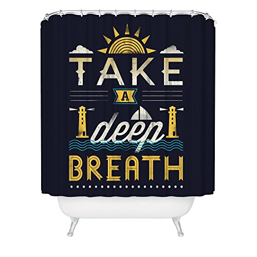 Ocean Nautical Shower Curtain / Take A Deep Breath Curtain / Lighthouse / Navy / Made in USA / Great Decoration Gift for Bathroom