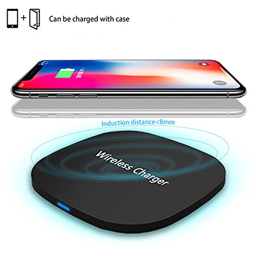 Wireless Charger Charging Pad for Apple iPhone X iPhone 8 Plus and All Qi-Enabled Devices,TENNBOO Qi Wireless Fast Charger for Android Samsung Galaxy note 8, S8Plus, S7 Edge, S6 Edge