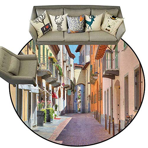 - Hedda Clare Circular Non-Slip Mat Printed, City,Town of Alba Piedmont Northern Italy Narrow Stone Paved Street Among Colorful Houses, Multicolor,for Living Room Bedroom Kids Room Nursery,6
