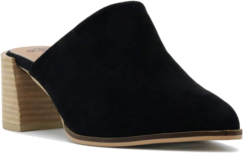 Beast Fashion Stephanie-01 Suede Slide On Chunky Mule Heel Sandal