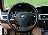 Amooca Fashion Universal SheepSkin Leather General Black Color Stitching Steering Wheel Cover Odorless 15.35