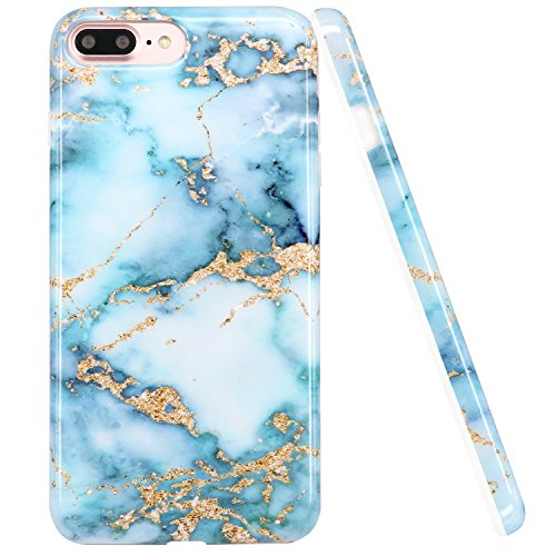 LUOLNH iPhone 8 Plus Case,iPhone 7 Plus Case, Blue and gold Marble Design Slim Shockproof Flexible Soft Silicone Rubber TPU Bumper Cover Skin Case for iPhone 8 Plus/iPhone 7 Plus