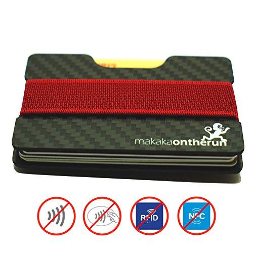 MOTRTM 2mm Minimalisten Kredit-Kartenhalter mit NFC & RFID Blocking Schutz, echt Kohlefaser (Minimalistische Geldbörse, dünnes Portmonnaie, mini Karten-Etui, kleiner Geldbeutel, Carbon Slim Wallet)