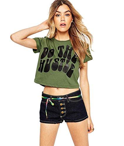 Baymate Impresión Camiseta Manga Corta Mujer Cuello Redondo Delgado Crop Tops Camisas Ejército Verde