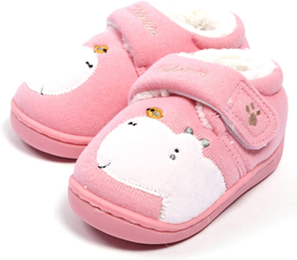 D.S.mor Toddler Little Kid Hippo Comfy Cotton Kids Shoes House Shoes