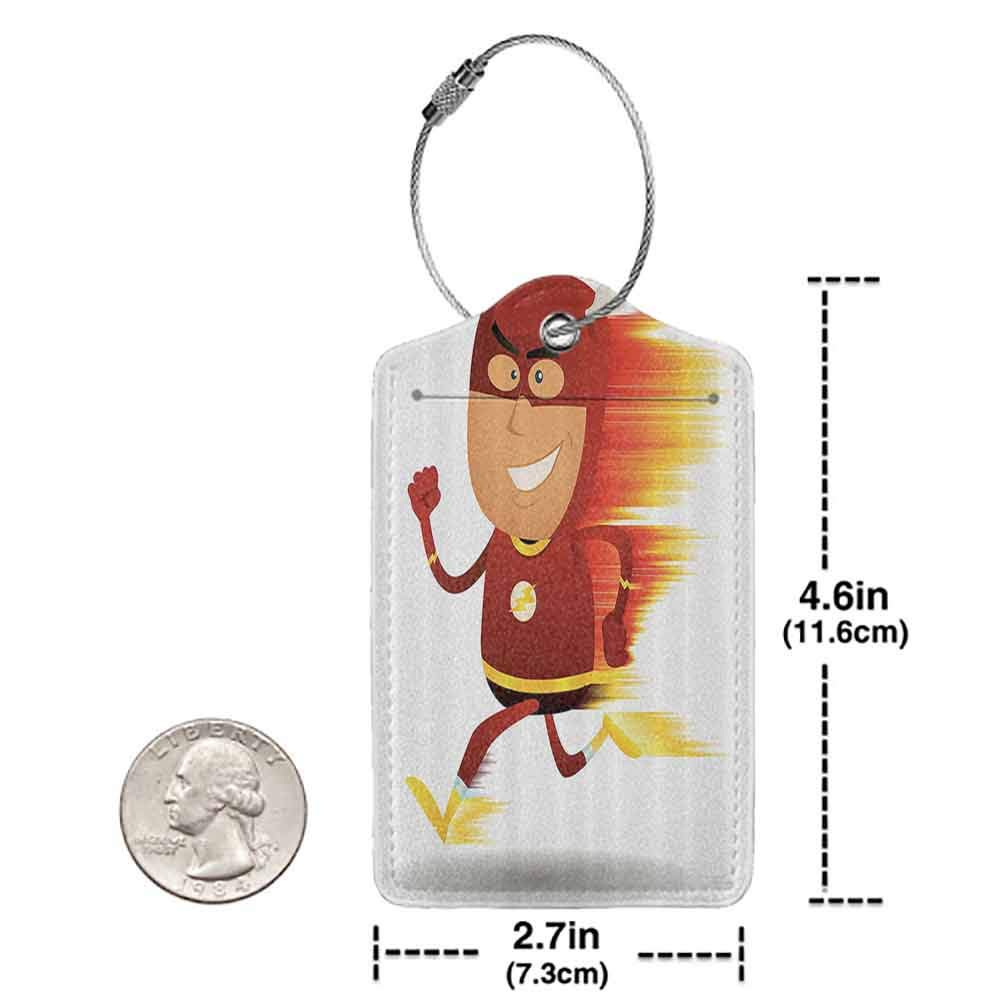 Multi-patterned luggage tag Superhero Lightning Bolt Man with Cape and Mask Fast as Light Fun Cartoon Character Art Print Double-sided printing White Red W2.7 x L4.6