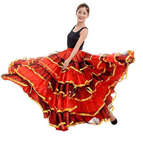 Belly Dance Skirts Sexy Spain Flamenco Long Swing Costume Dance Dress for Women (540 Degree) Red -