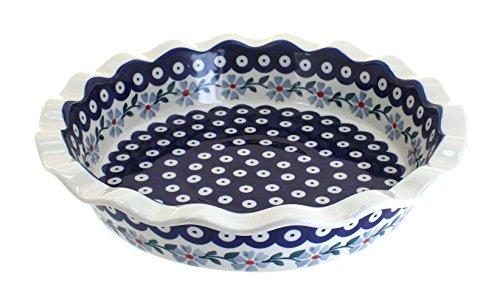 Blue Rose Polish Pottery Blue Violet Pie Plate