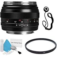 Zeiss 50mm f/1.4 Lens for Canon Digital SLR Cameras + 58mm UV Filter + Lens Cap Keeper + Deluxe Cleaning Kit DavisMAX Bundle - International Version (No Warranty)