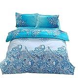 zhENfu 3D Reactive Blue flower Bedding Sets 4 Pcs for Queen Size Contain 1 Duvet Cover 1 Bedsheet 2 Pillowcases from China,Queen,Blue