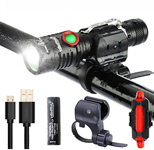 LED Bike Light Set, 1000 Lumen Super Bright Bicycle Light, USB Rechargeable Water Resistant Cycle Light, Including Front Light Rear Light Easy to Install Bracket for Cycling and Use as Flashlight Uelfbaby