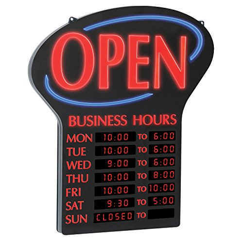 Newon LED OPEN Sign with Programmable Business Hours and Flashing Effects, Red/Black (6093) by Newon