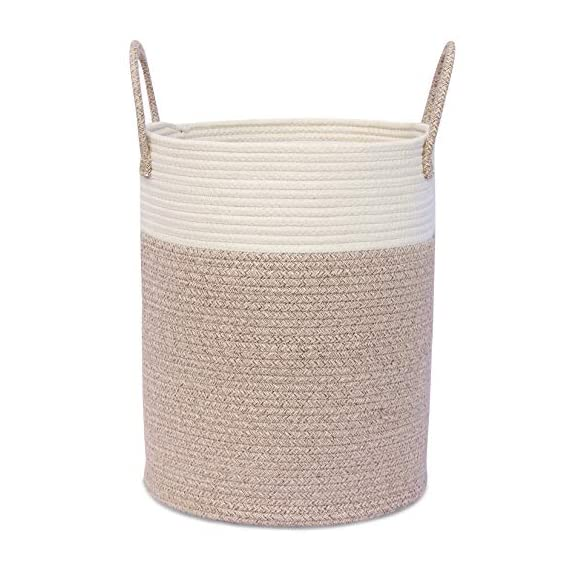 """OrganiHaus XL Large Rope Laundry Basket – Tastefully Appointed Extra Large Decorative Hamper, 100% Natural Cotton Storage Basket, Rope Basket, Toy Basket, Blanket Basket, Pillow Basket - 15"""" x 18"""" - ⭐️ LOVELY OFF WHITE WITH WICKER BROWN BASE - This has a pure, natural vibe and beautiful look. These go well in any room in your home. The Jongui is a special creation our customers love. Choose from two popular sizes. Many people buy both to fully outfit their living room, laundry, and bedroom. 100% natural hand woven basket you won't want to be without ⭐️ CHOOSE FROM TALL OR WIDE SHAPED - This tall basket makes a natural way to store and organize clothing, big pillows, blankets, kids toys, and a variety of supplies and craft accessories. We like how one is quite compact for small spaces while the oversized basket spreads out to accommodate bulkier items like large blankets and throw pillows ⭐️ ECO-FRIENDLY NATURAL HANDMADE cotton rope has no plastic, harsh chemicals, toxins, or harmful additives. Safe for kids and perfect for nursery storage too. Big easy-carry handles make this basket the most portable. Compare to other baskets with small handles that need both hands to carry or plastic ones that hurt you - laundry-room, hampers-baskets, entryway-laundry-room - 51vPCxgfdGL. SS570  -"""
