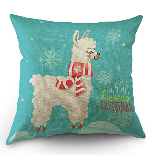 (Moslion Llama Pillow Cover Cute Llama with Christmas Striped Scarf Snowflake Throw Pillow Case 18x18 Inch Cotton Linen Square Cushion Decorative Cover for Sofa Bed Red White)