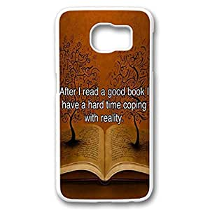 iCustomonline S6 Samsung Quote for Book Lover White Hard Case for Samsung Galaxy S6