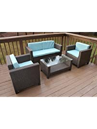 Oliver Smith   Large 4 Pc Modern Brown Rattan Wiker Sofa Set Outdoor Patio  Furniture