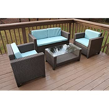 Oliver Smith   Large 4 Pc Modern Rattan Wiker Sofa Set Outdoor Patio  Furniture   Aluminum Frame With Ottoman   1127 Light Blue