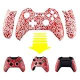 Cheap eXtremeRate Transparent Blood Red Bulge Design Convex Granule Effect Faceplate Front Housing Shell with Left Right Grip Panels Handles Side Rails Replacement Parts for Microsoft Xbox One Controller