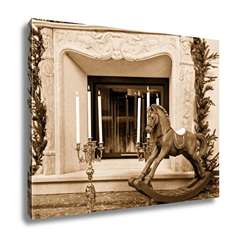 Ashley Canvas Old Wooden Rocking Horse Near The Fireplace, Wall Art Home Decor, Ready to Hang, Sepia, 16x20, AG6136561 by Ashley Canvas