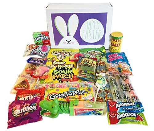 Easter Candy Gift Variety Assortment Care Package with Sour Patch Kids, Toxic Waste, Nerds, Gobstoppers, War Heads Extreme, Pop Rocks, Airheads Jr]()